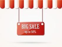 Shoppa taket med försäljningstecknet Arkivbild