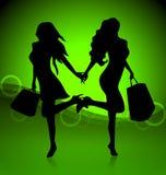 shoppa två kvinnor Arkivfoto
