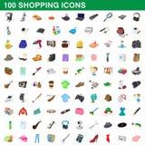100 shoppa uppsättning, tecknad filmstil Royaltyfri Foto