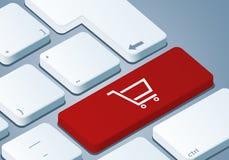 Shoppa vagnstangenten - tangentbord med begreppet 3D royaltyfri illustrationer