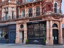 Shoppar den äldsta slaktaren för London ` s, Mayfair arkivfoto