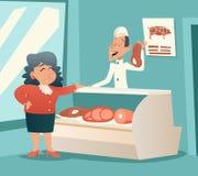 Shoppar den gamla kvinnan för farmodern i kött samtal med säljaren Arkivbilder