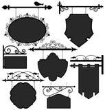 shoppar den hängande informationsrouten om banret teckensignagen vektor illustrationer