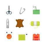 Shoppar den idérika skräddaren för den plana vektorn rengöringsdukapp-symbolen: stickor Royaltyfri Foto