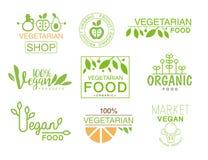 Shoppar den naturliga matuppsättningen för strikt vegetarian av mallen Logo Signs In Green And orange färger som främjar sund liv stock illustrationer