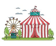 Shoppar den roliga cirkusen för klottret med karneval och lekar vektor illustrationer
