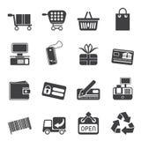 Shoppar enkla online- för kontur symboler Royaltyfri Foto