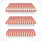 Shoppar färgrika markiser för vektorn för fastställt rött Arkivbild