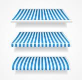Shoppar färgrika markiser för vektorn för uppsättningblått Arkivbilder