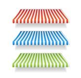 Shoppar färgrika markiser för vektorn för uppsättningen Arkivfoton