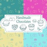 Shoppar handgjorda choklader för vektorn som förpackar mallar och designbeståndsdelar för godis - papp med emblem och logoer och vektor illustrationer