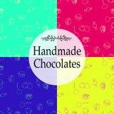 Shoppar handgjorda choklader för vektorn som förpackar mallar och designbeståndsdelar för godis - papp med emblem och logoer och Fotografering för Bildbyråer
