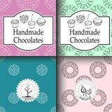 Shoppar handgjorda choklader för vektorn som förpackar mallar och designbeståndsdelar för godis - papp med emblem och logoer och  stock illustrationer