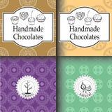 Shoppar handgjorda choklader för vektorn som förpackar mallar och designbeståndsdelar för godis - papp med emblem och logoer och  Royaltyfri Bild