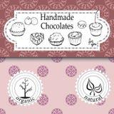 Shoppar handgjorda choklader för vektorn som förpackar mallar och designbeståndsdelar för godis - papp med emblem och logoer och  Royaltyfri Fotografi