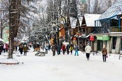 Shoppar längs den Krupowki gatan Royaltyfria Bilder