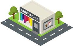 Shoppar målar isometrisk maskinvara för vektorn, lagret stock illustrationer