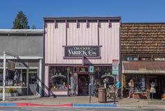 Shoppar på den huvudsakliga gatan Truckee, Kalifornien Royaltyfria Foton