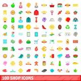 100 shoppar symboler uppsättningen, tecknad filmstil Fotografering för Bildbyråer