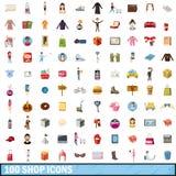 100 shoppar symboler uppsättningen, tecknad filmstil Royaltyfri Fotografi