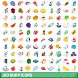 100 shoppar symbolsuppsättningen, isometrisk stil 3d royaltyfri illustrationer