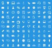 100 shoppar symbolsuppsättningen Royaltyfri Bild