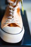 Shoppar trendiga gymnastikskor för Closeup på hyllan Arkivbilder