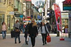 Shoppare med gatan för shopping för shoppingpåsar den upptagna Royaltyfri Foto