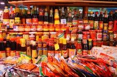Shoppe de la comida en comida del condimento de la salsa de soja Imagen de archivo libre de regalías