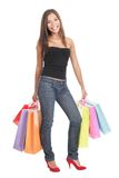 Shopper. Woman shopper shopping standing on white background stock photo
