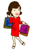 Shopper. Retro female with shopping bags vector illustration