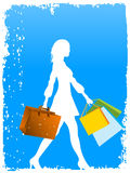 Shopper and bags. On abstract background stock illustration
