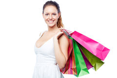 Shopper with bags Stock Images