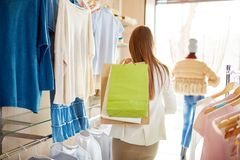 Shopper in boutique Royalty Free Stock Photo