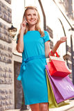 Shopper calling Royalty Free Stock Images
