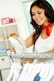 Shopper in clothing department Stock Photo