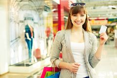 Shopper with credit card Royalty Free Stock Photo