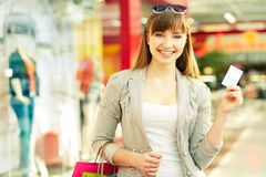 Shopper with credit card Stock Photography