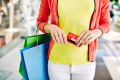 Shopper with discount Royalty Free Stock Photo