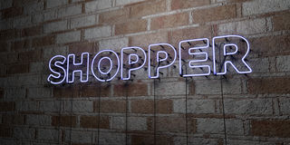 SHOPPER - Glowing Neon Sign on stonework wall - 3D rendered royalty free stock illustration Royalty Free Stock Photography