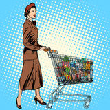 Shopper grocery cart full of food Royalty Free Stock Photography