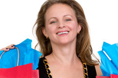 Shopper Lady Happily done with her Shopping Stock Photos