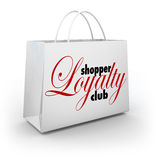 Shopper Loyalty Club Shopping Bag Promotion Rewards Program. Shopper Loyalty Club words on a store shopping bag as a promotional rewards program for customers Stock Images