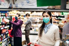 Shopper with mask safely buying for groceries due to coronavirus pandemic in grocery store.COVID-19 shopping.Quarantine