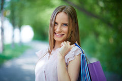 Shopper outdoors Royalty Free Stock Photography