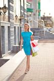 Shopper with paperbags Royalty Free Stock Photos