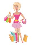 Shopper in pink. Stock Images