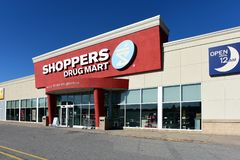 Shopper`s Drug Mart in Kanata, Ontario. Ottawa, Canada - November 3, 2018: Shopper`s Drug Mart in Kanata, a suburb of Ottawa. The Canadian pharmacy was founded royalty free stock photos