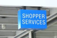 Shopper Services. A blue sign that reads Shopper Services stock image