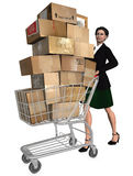 Shopper Shopping Cart Shipping. Business woman pushes shopping cart & stack of shipping carton packages, internet mail orders to online checkout. in this 3D vector illustration